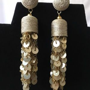 NEW!!  Fun Gold Dangling Sequins Earrings, Pierced